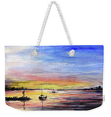 Sunset Watercolor Downtown Kirkland Weekender Tote Bag by Olga Shvartsur