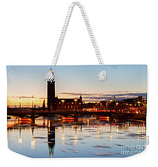 Sunset With Cityhall Of Stockholm Weekender Tote Bag