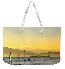Sunset With Green Sailboat Weekender Tote Bag