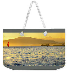 Sunset With Red Sailboat Weekender Tote Bag
