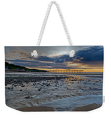 Sunset With Saltburn Pier Weekender Tote Bag by Gary Eason