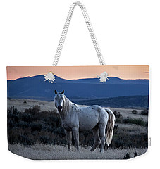 Sunset With Wild Stallion Tripod In Sand Wash Basin Weekender Tote Bag