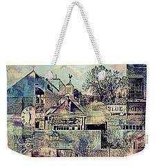 Weekender Tote Bag featuring the digital art Sunsets And Blue Point Collage by Susan Stone