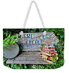 Weekender Tote Bag featuring the painting Sunshine Bench by Joan Reese