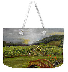 Weekender Tote Bag featuring the painting Sunshine Bridge At The Cartecay Vineyard - Ellijay Ga - Vintner's Choice by Jan Dappen