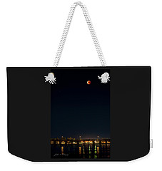 Super Blood Moon Over Ventura, California Pier Weekender Tote Bag