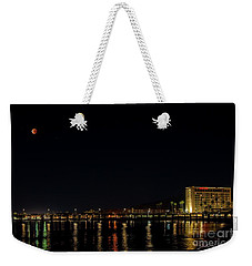 Super Blue Blood Moon Over Ventura, California Pier  Weekender Tote Bag