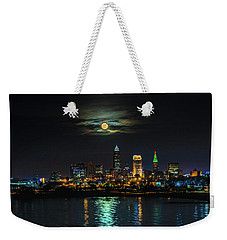 Super Full Moon Over Cleveland Weekender Tote Bag