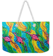 Weekender Tote Bag featuring the painting Super Late For Supper by Debbie Chamberlin