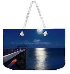 Weekender Tote Bag featuring the photograph Super Moon At Juno by Laura Fasulo