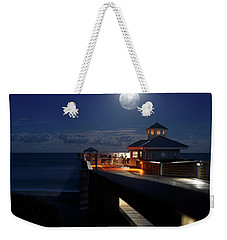Weekender Tote Bag featuring the photograph Super Moon At Juno Pier by Laura Fasulo