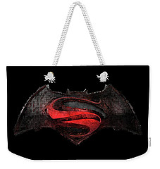 Weekender Tote Bag featuring the photograph Superman Vs Batman by Louis Ferreira