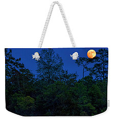 Weekender Tote Bag featuring the photograph Supermoon Over Providence Canyon by Barbara Bowen