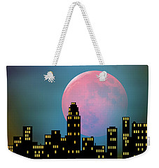 Supermoon Over The City Weekender Tote Bag by Klara Acel
