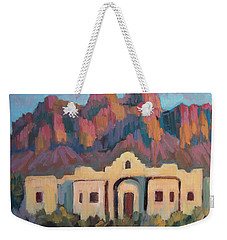 Weekender Tote Bag featuring the painting Superstition Mountain Evening by Diane McClary