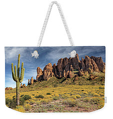 Weekender Tote Bag featuring the photograph Superstition Mountains Saguaro by James Eddy
