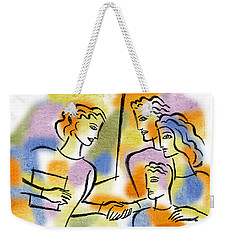 Weekender Tote Bag featuring the painting Support And Family Assistance by Leon Zernitsky