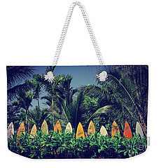 Weekender Tote Bag featuring the photograph Surf Board Fence Maui Hawaii Vintage by Edward Fielding