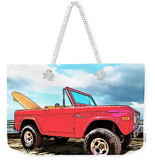 Surf Bronco Beyond The 4 Wheel Drive Only Sign Padre Island Weekender Tote Bag