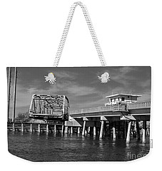 Surf City Bridge - Black And White Weekender Tote Bag
