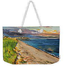 Weekender Tote Bag featuring the painting Surf Drive Falmouth by Michael Helfen