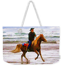 Weekender Tote Bag featuring the photograph Surf Rider by Wendy McKennon