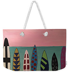 Weekender Tote Bag featuring the painting Surfboards At On Beach by Paula Brown