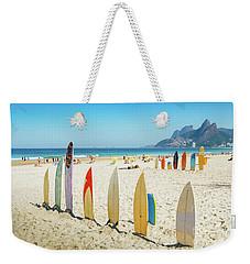Surfboards On Ipanema Beach, Rio De Janeiro Weekender Tote Bag