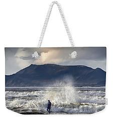 Surfer And A Big Wave Weekender Tote Bag