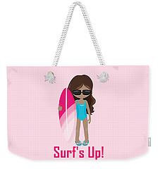 Surfer Art Surf's Up Girl With Surfboard #16 Weekender Tote Bag