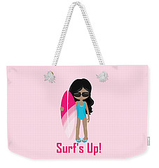 Surfer Art Surf's Up Girl With Surfboard #17 Weekender Tote Bag