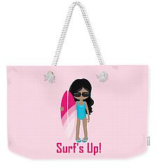 Surfer Art Surf's Up Girl With Surfboard #17 Weekender Tote Bag
