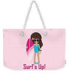 Surfer Art Surf's Up Girl With Surfboard #18 Weekender Tote Bag