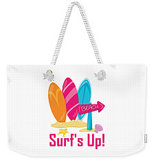 Surfer Art - Surf's Up To The Beach With Surfboards Weekender Tote Bag