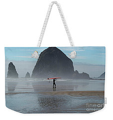 Surfer At Haystack Rock Weekender Tote Bag