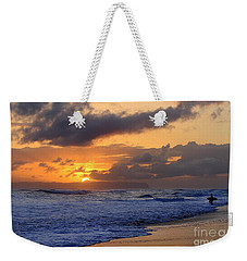 Surfer At Sunset On Kauai Beach With Niihau On Horizon Weekender Tote Bag