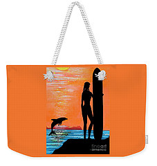 Surfer Girl With Dolphin Weekender Tote Bag