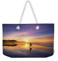 Surfer In Beach At Sunset Weekender Tote Bag