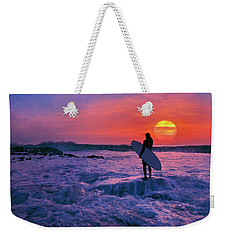 Weekender Tote Bag featuring the photograph Surfer On Rock Looking Out From Blowing Rocks Preserve On Jupiter Island by Justin Kelefas
