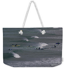 Weekender Tote Bag featuring the photograph Photographs Of Cornwall Surfers At Fistral by Brian Roscorla