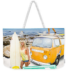 Weekender Tote Bag featuring the photograph Surfing Holiday This Way by Jorgo Photography - Wall Art Gallery