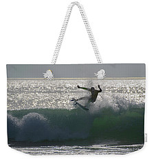 Weekender Tote Bag featuring the photograph Surfing The Light by Thierry Bouriat