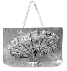 Weekender Tote Bag featuring the photograph Surreal Carnival Rides - Carnival Rides Ferris Wheel Black And White Photography Prints Home Decor by Kathy Fornal