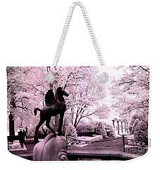 Surreal Infared Pink Black Sculpture Horse Pegasus Winged Horse Architectural Garden Weekender Tote Bag