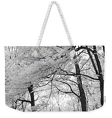 Weekender Tote Bag featuring the photograph Surreal Infrared Black White Nature Trees - Haunting Black White Trees Nature Infrared by Kathy Fornal