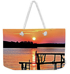 Surreal Smith Mountain Lake Dock Sunset Weekender Tote Bag by The American Shutterbug Society