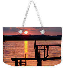 Surreal Smith Mountain Lake Dockside Sunset 2 Weekender Tote Bag by The American Shutterbug Society