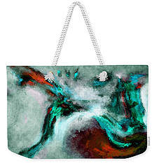 Weekender Tote Bag featuring the painting Surrealist And Abstract Painting In Orange And Turquoise Color by Ayse Deniz