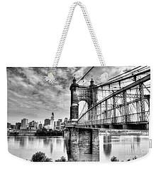 Suspension Bridge At Cincinnati Bw Weekender Tote Bag