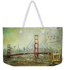 Weekender Tote Bag featuring the photograph Suspension - Golden Gate Bridge San Francisco Photography Mixed Media Collage by Melanie Alexandra Price